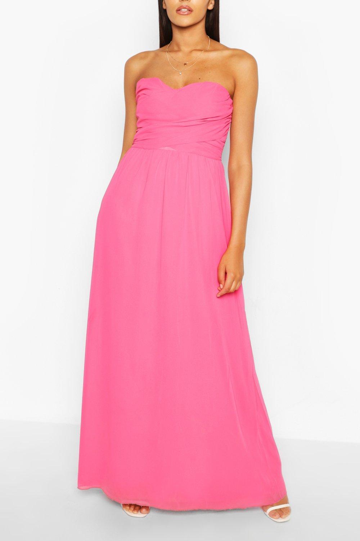 80s Dresses | Casual to Party Dresses Womens Chiffon Bandeau Maxi Bridesmaid Dress - Pink - 10 $34.20 AT vintagedancer.com