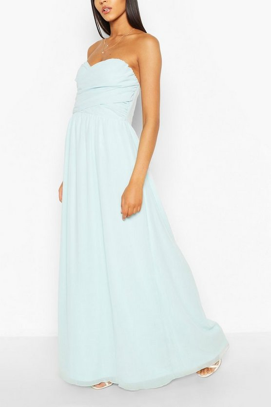 Womens Sky Chiffon Bandeau Maxi Dress