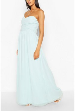 Sky Chiffon Bandeau Sweetheart Maxi Bridesmaid Dress