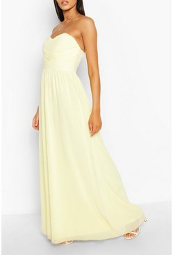 Chiffon Bandeau Maxi Bridesmaid Dress, Yellow