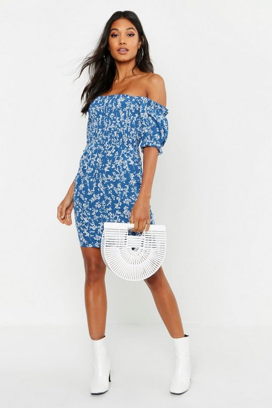 Ditsy Print Shirred Waist Mini Dress