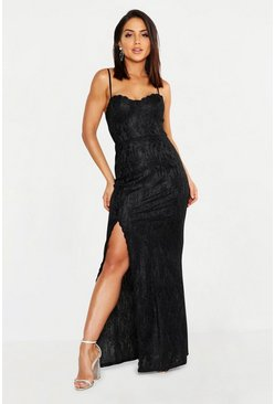 Womens Black Lace Sweetheart Neck Maxi Dress