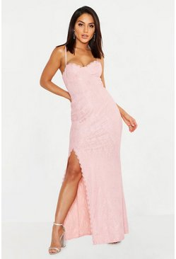 Womens Blush Lace Sweetheart Neck Maxi Dress