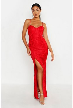 Red Lace Sweetheart Neck Maxi Bridesmaid Dress
