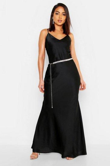 Womens Satin Strappy Maxi Dress
