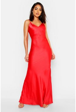 Womens Red Satin Strappy Maxi Dress