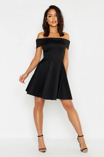 Womens Black Off The Shoulder Skater Dress