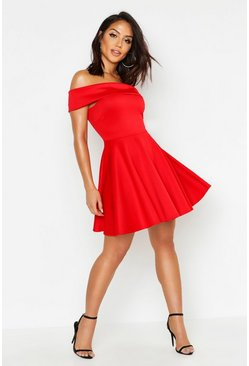 Off The Shoulder Skater Dress, Red, Femme
