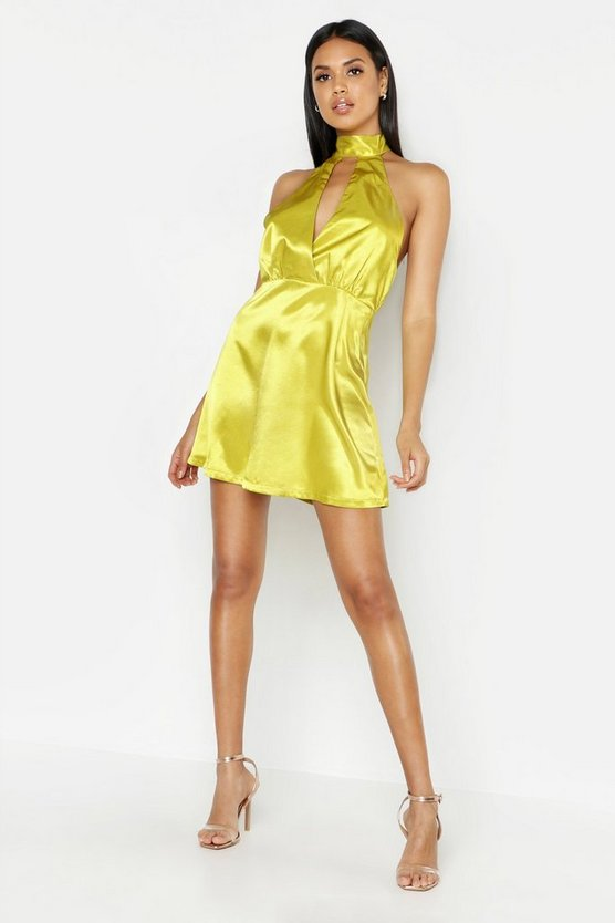 Satin Halter Skater Dress