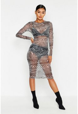 Womens Black Mesh Zebra Print Midi Dress