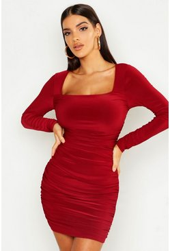 Womens Berry Slinky Ruched Front Bodycon Dress