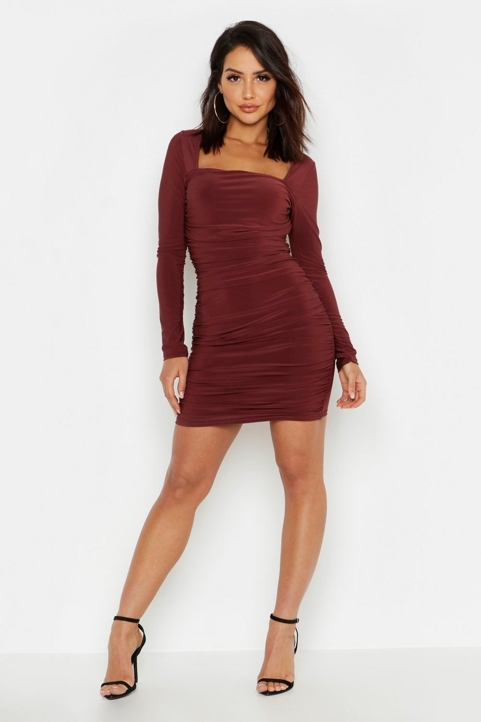 Boohoo Ruched Dress Bodycon Front Slinky wOF4qn
