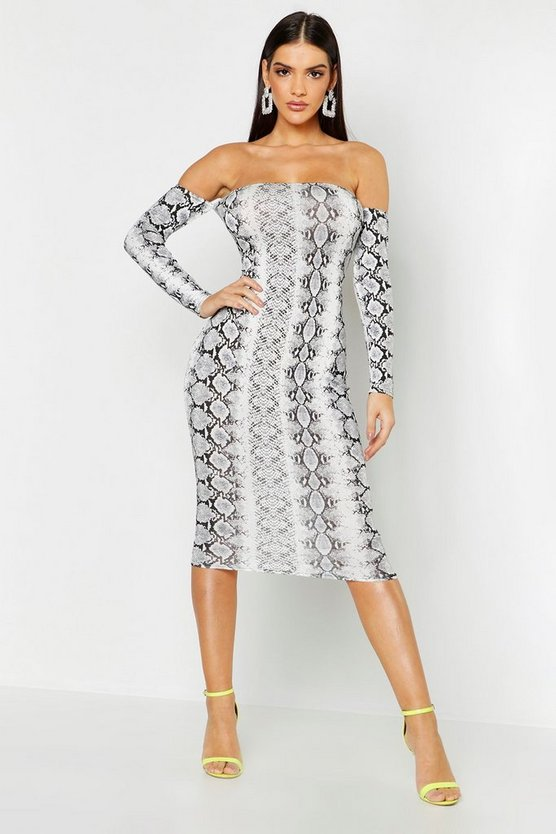 Snake Print Off The Shoulder Midi Dress