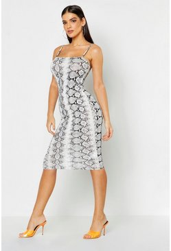 Womens Grey Snake Print Square Neck Midi Dress