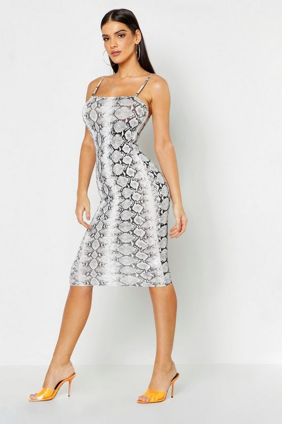Snake Print Square Neck Midi Dress