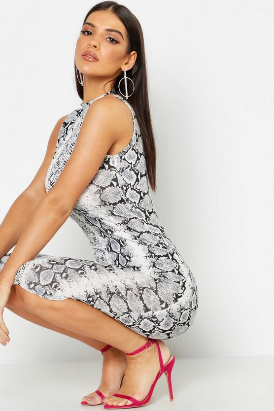 Snake Print Sleeveless Bodycon Midi Dress