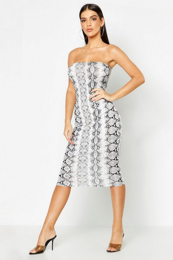 Snake Print Bandeau Midi Dress