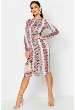 Snake Print Long Sleeve Midi Dress, Red, Donna