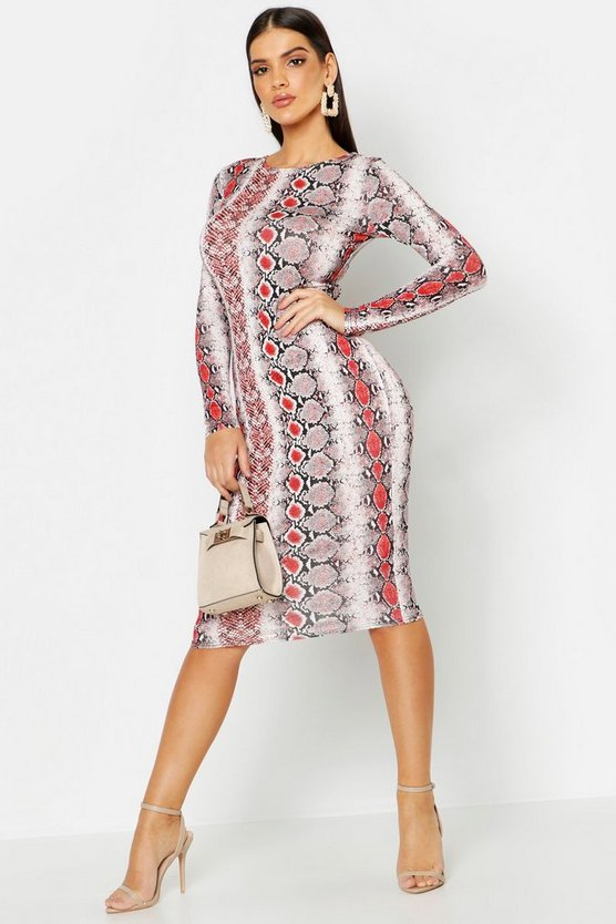Snake Print Long Sleeve Midi Dress