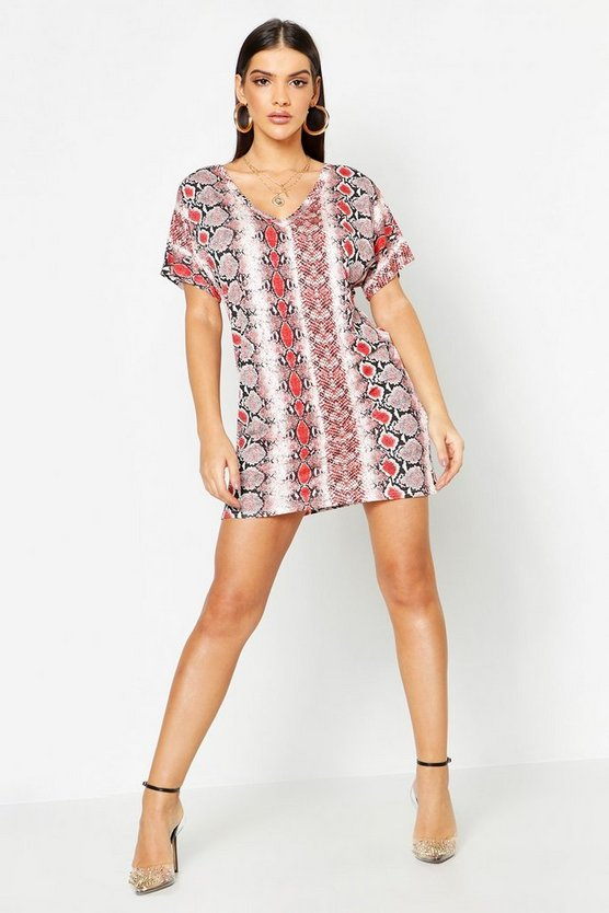 Snake Print V Neck T- Shirt Dress