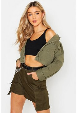 Cropped Utility Pocket Rigid Denim Jacket, Khaki, DAMEN