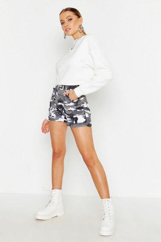 Utility Camo Rigid Denim Shorts by Boohoo