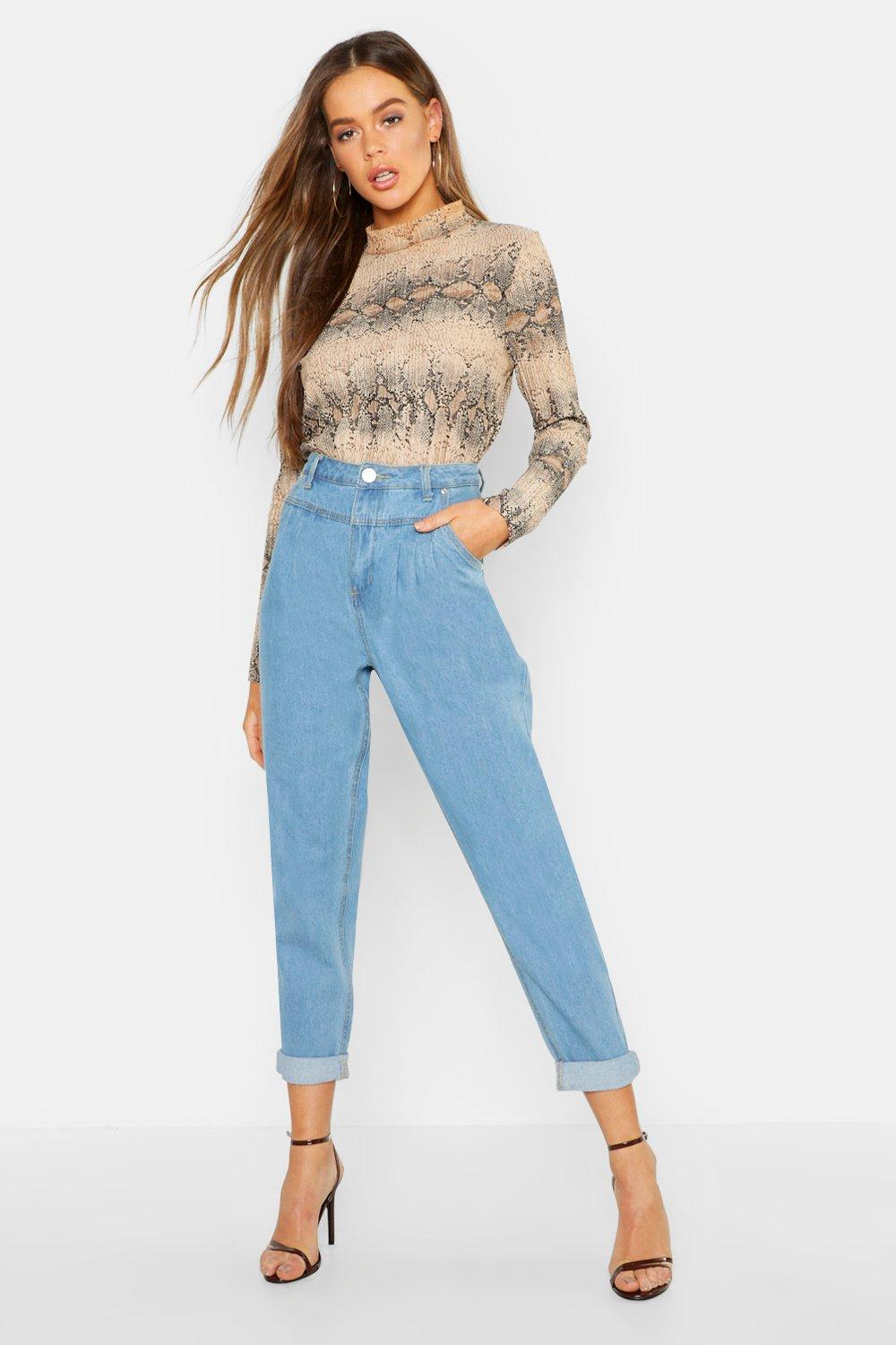 High Waist Pleat Front Rigid Mom Jeans