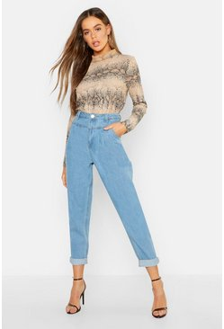 High Waist Pleat Front Rigid Mom Jeans, Light blue, Donna