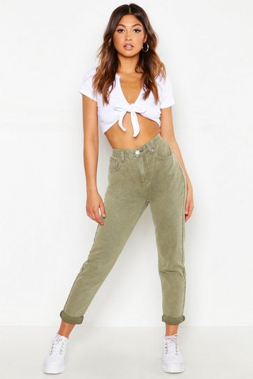Womens Khaki High Waist Distressed Rigid Mom Jeans
