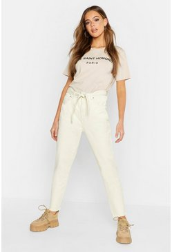 High Waisted Tie Waist Rigid Mom Jeans, Ecru, Donna