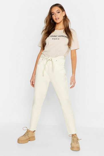 Womens Ecru High Waisted Tie Waist Rigid Mom Jeans