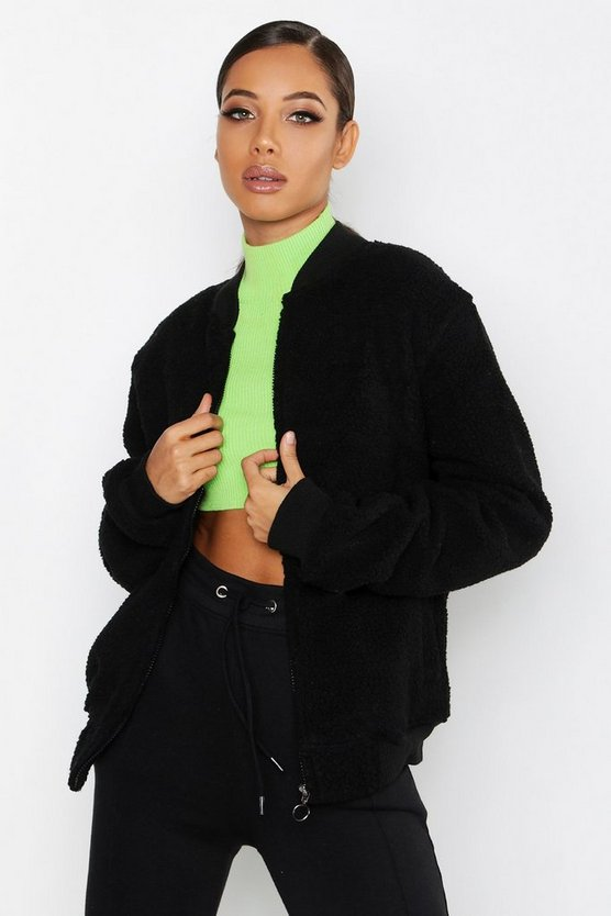 Zip Through Borg Oversized Jumper