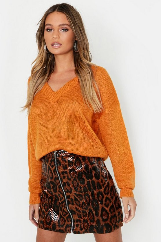 V Neck Split Side Sweater