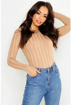 Womens Camel Ribbed Crew Neck Knitted Top