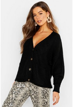Fisherman Knit Button Through Cardigan, Black