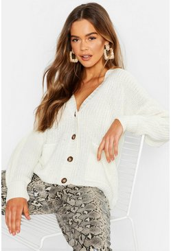 Fisherman Knit Button Through Cardigan, Oatmeal, MUJER