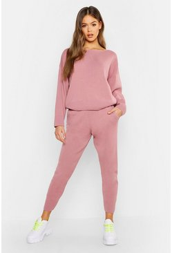 Womens Dusky pink Slash Neck Knitted Set