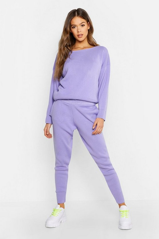 Slash Neck Knitted Set, Lilac, MUJER