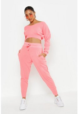 Off Shoulder V Neck Slouchy Crop Knitted Set, Coral, DAMEN