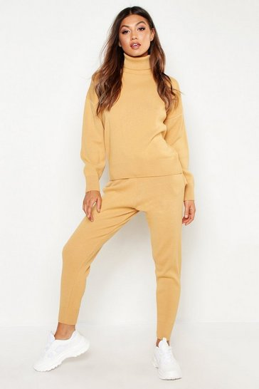 Womens Camel Roll Neck Knitted Lounge Set