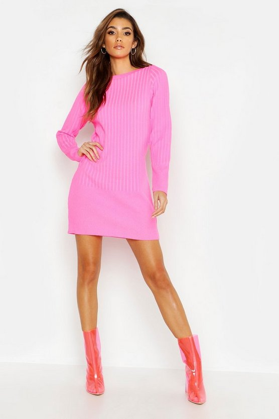 Neon Slash Neck Knitted Bodycon Dress