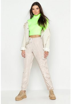 Womens Neon-lime Neon Knitted Roll Neck Crop Jumper