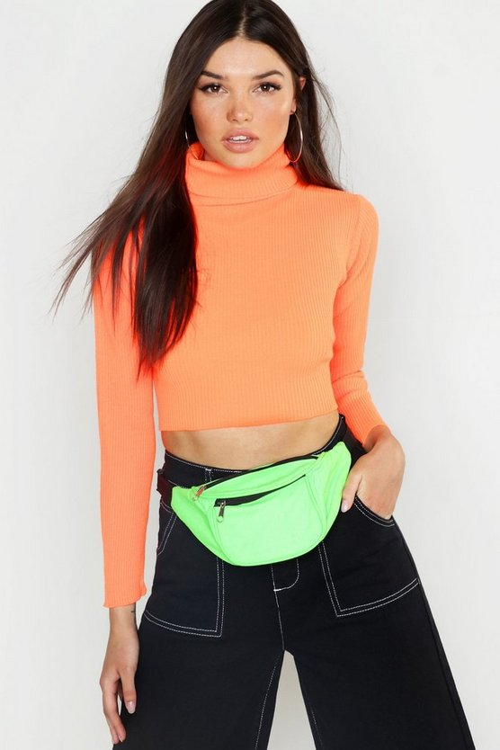 Neon Knitted Roll Neck Crop Jumper