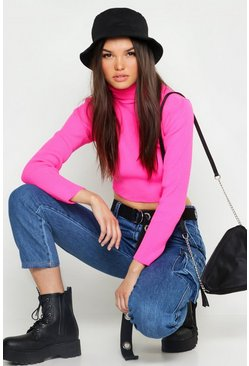 Womens Neon-pink Neon Knitted Roll Neck Crop Jumper