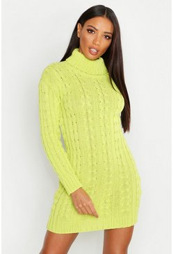 Womens Neon-lime Neon Knitted Jumper Dress