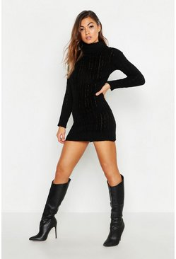Womens Black Knitted Jumper Dress