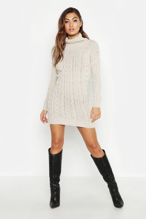 Womens Ivory Knitted Jumper Dress