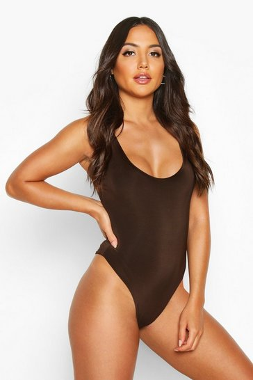 Womens Chocolate Slinky Double Layer Scoop Sleeveless Bodysuit