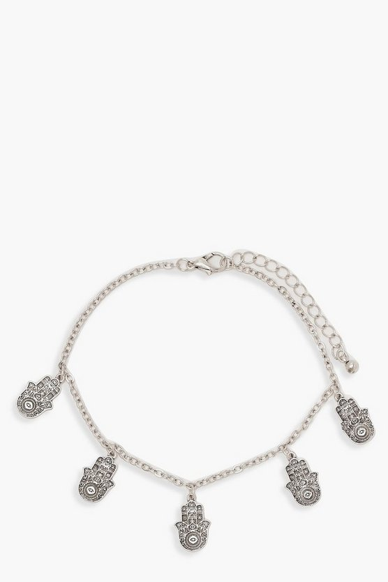 Womens Silver Hamsa Hand Anklet