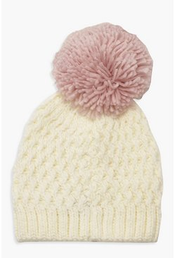 Womens Cream Contrast Over Sized Pom Beanie